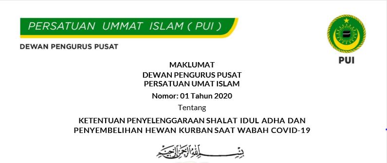 Maklumat DPP PUI Tentang Idul Adha Disaat Wabah Covid-19