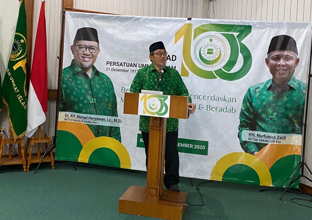 Ketua Majelis Syuro PUI, Dr. K.H. Ahmad Heryawan, Lc., M.Si, memberi sambutan disela Milad ke-103 PUI di Pusdai Jabar, Senin (21/12). (Foto: Humas PUI)